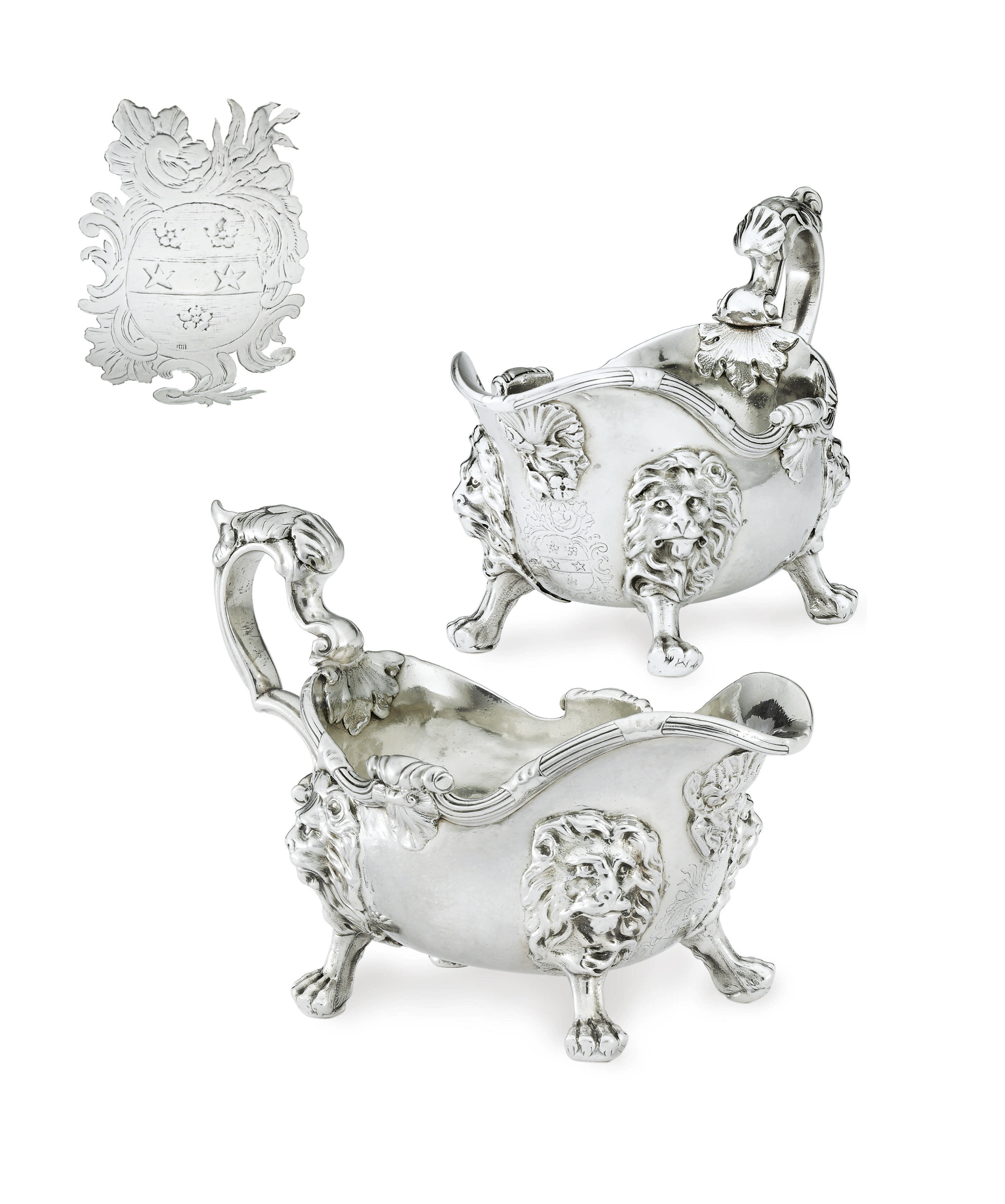 A FINE PAIR OF GEORGE II SILVER SAUCEBOATS