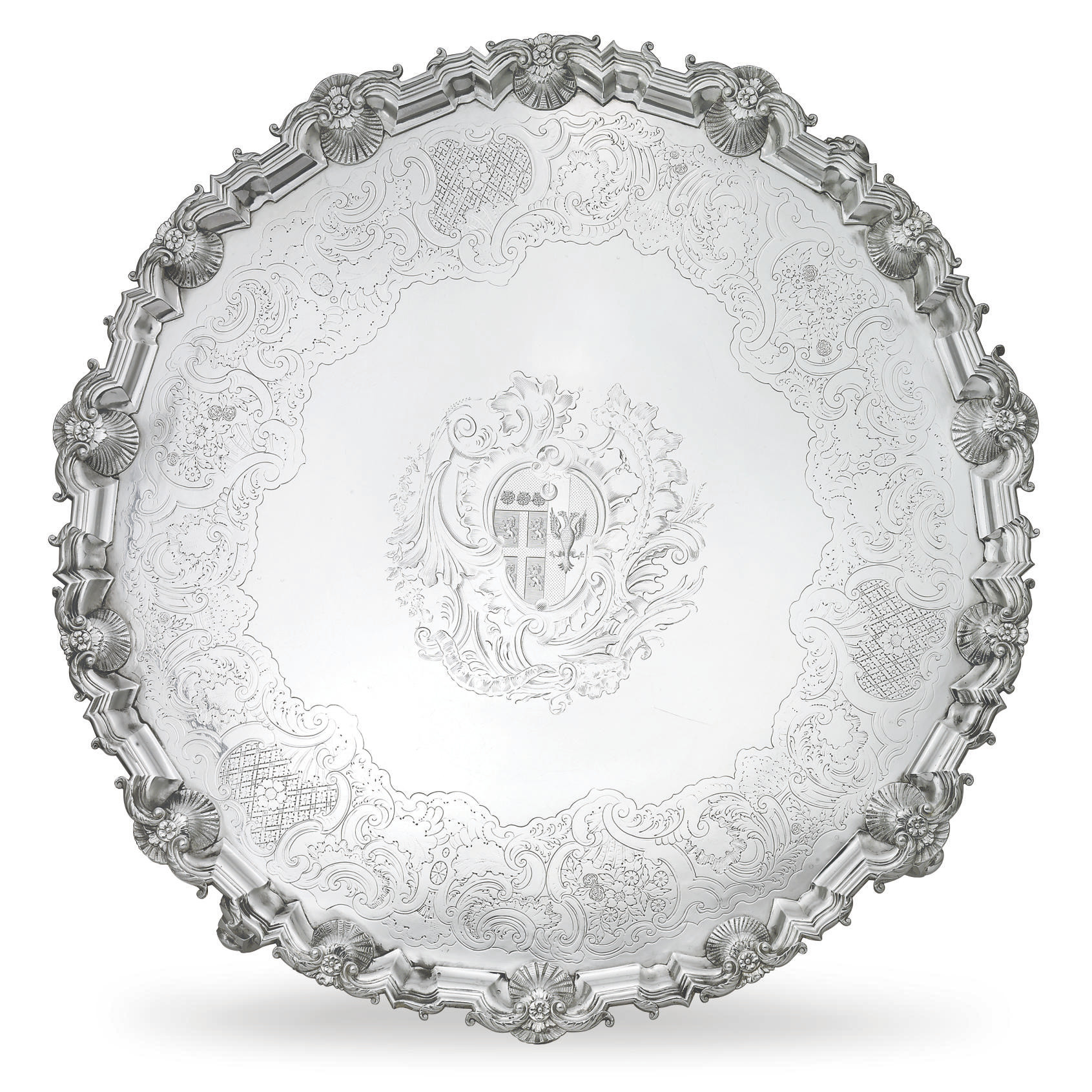 A LARGE GEORGE II SILVER SALVER