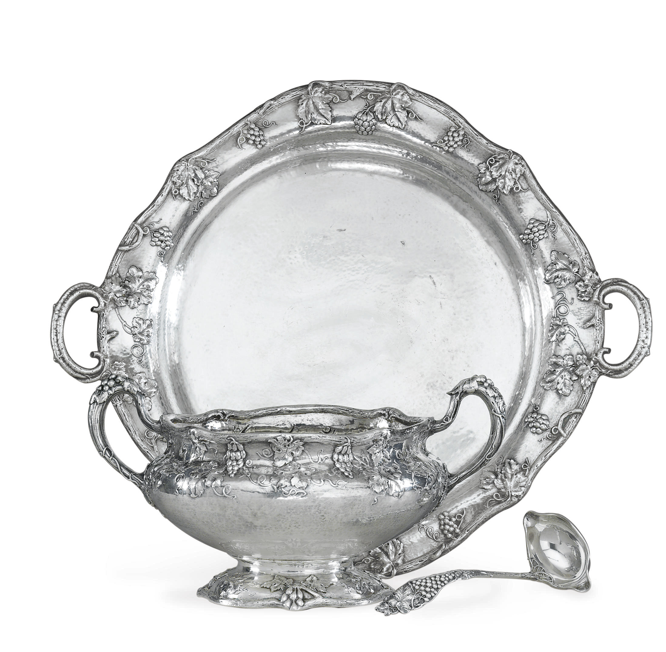 AN AMERICAN SILVER PUNCH BOWL, TRAY AND LADLE
