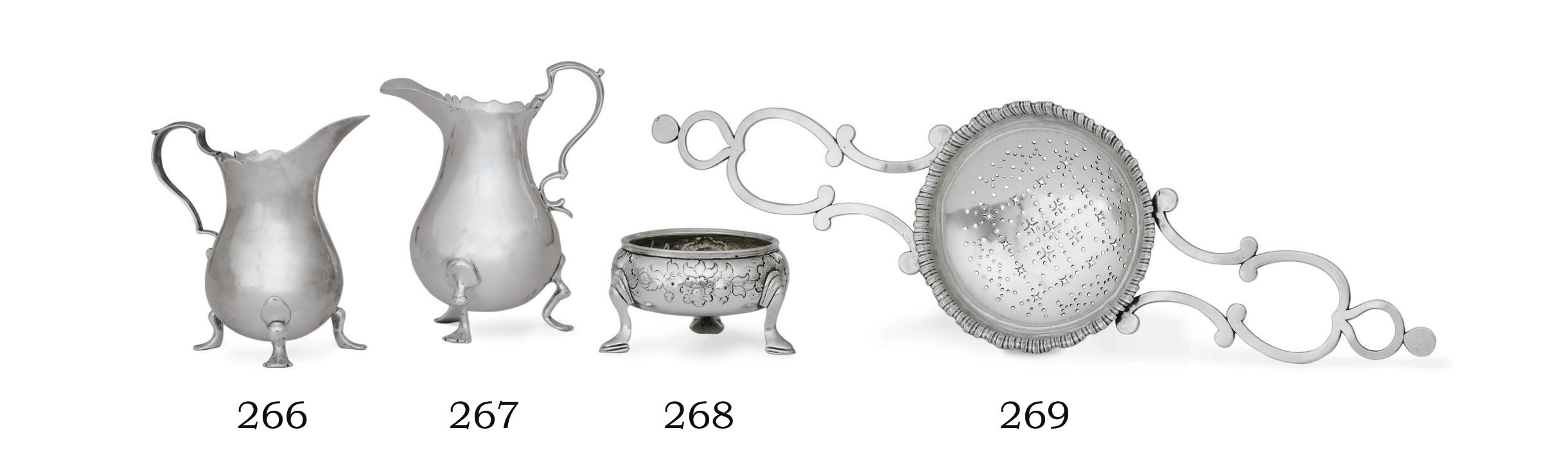 AN AMERICAN SILVER PUNCH STRAINER
