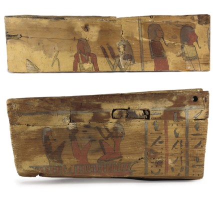 TWO EGYPTIAN WOOD SARCOPHAGUS