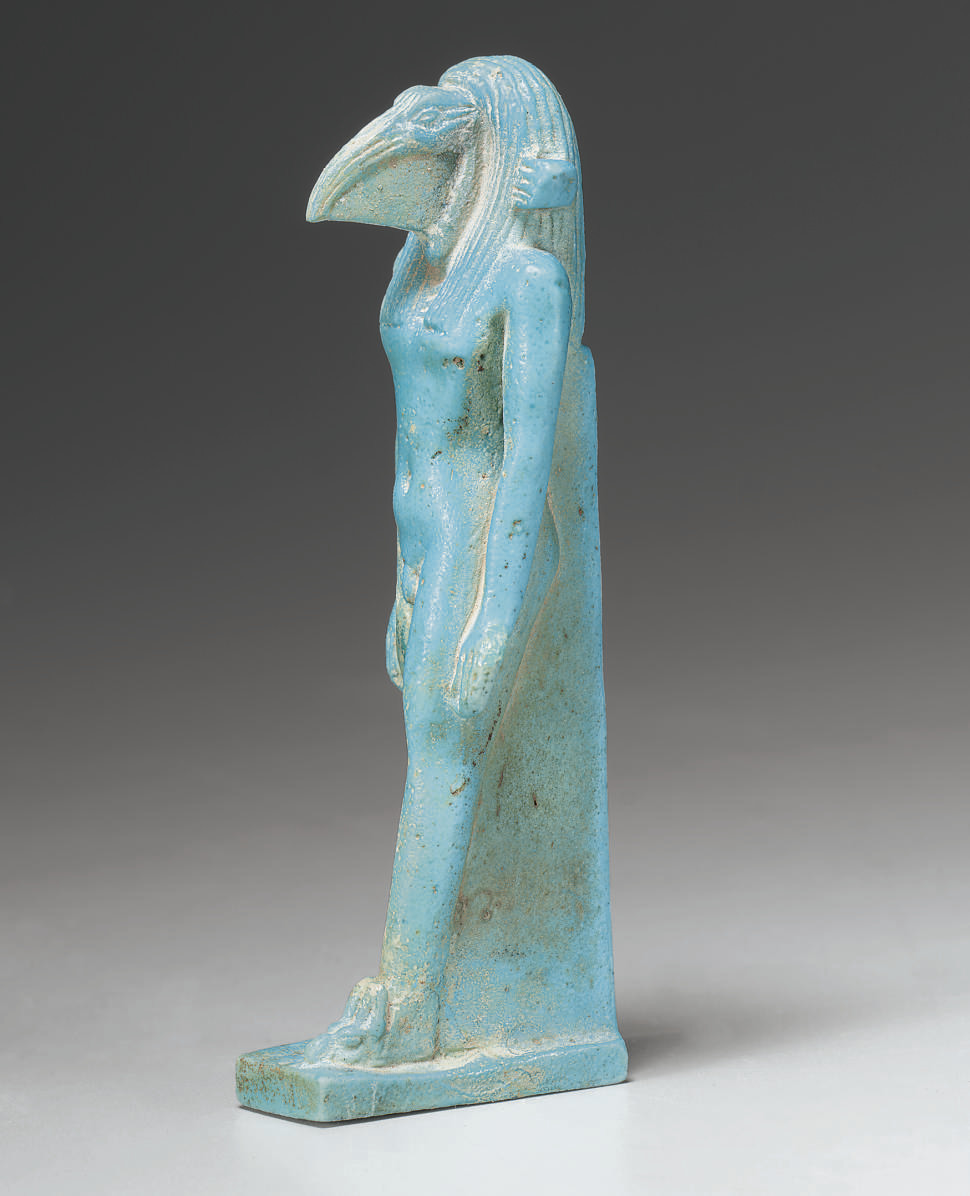 AN EGYPTIAN FAIENCE THOTH AMULET