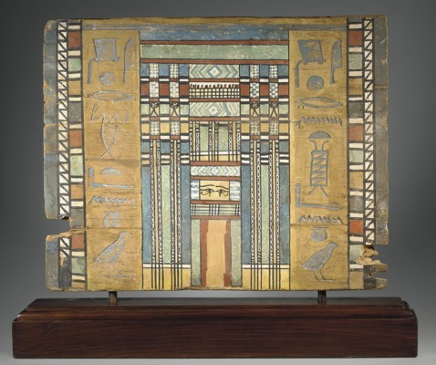 AN EGYPTIAN PAINTED WOOD SARCO