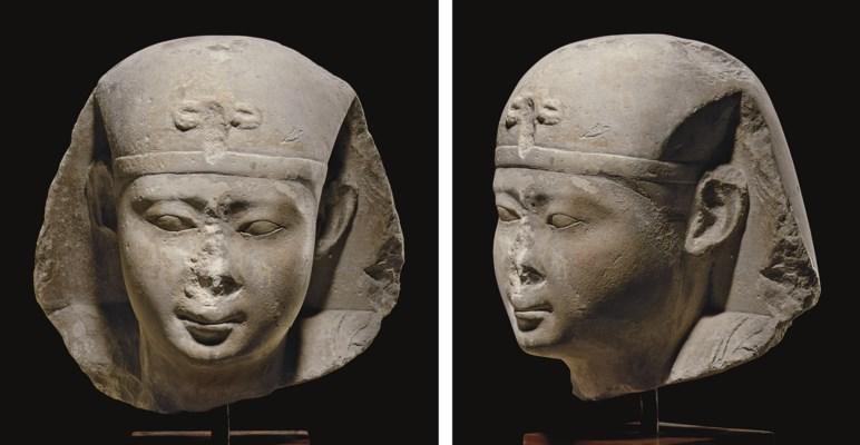 AN EGYPTIAN LIMESTONE PORTRAIT