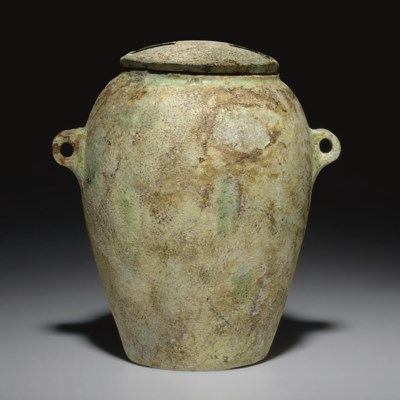 A LEVANTINE FAIENCE LIDDED JAR