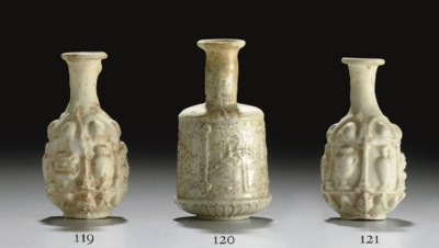 A ROMAN GLASS HEXAGONAL BOTTLE