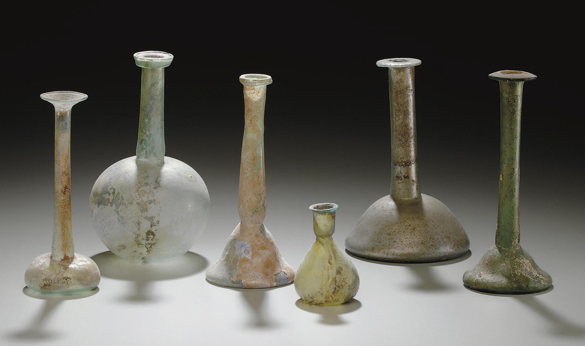 SIX ROMAN GLASS VESSELS