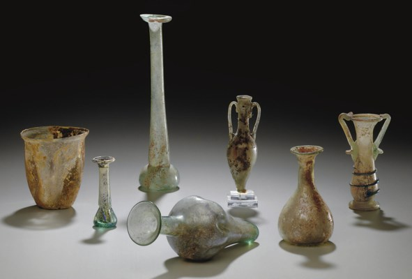 SEVEN ROMAN GLASS VESSELS