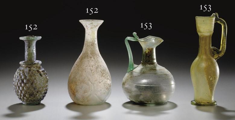 TWO ROMAN GLASS FLASKS