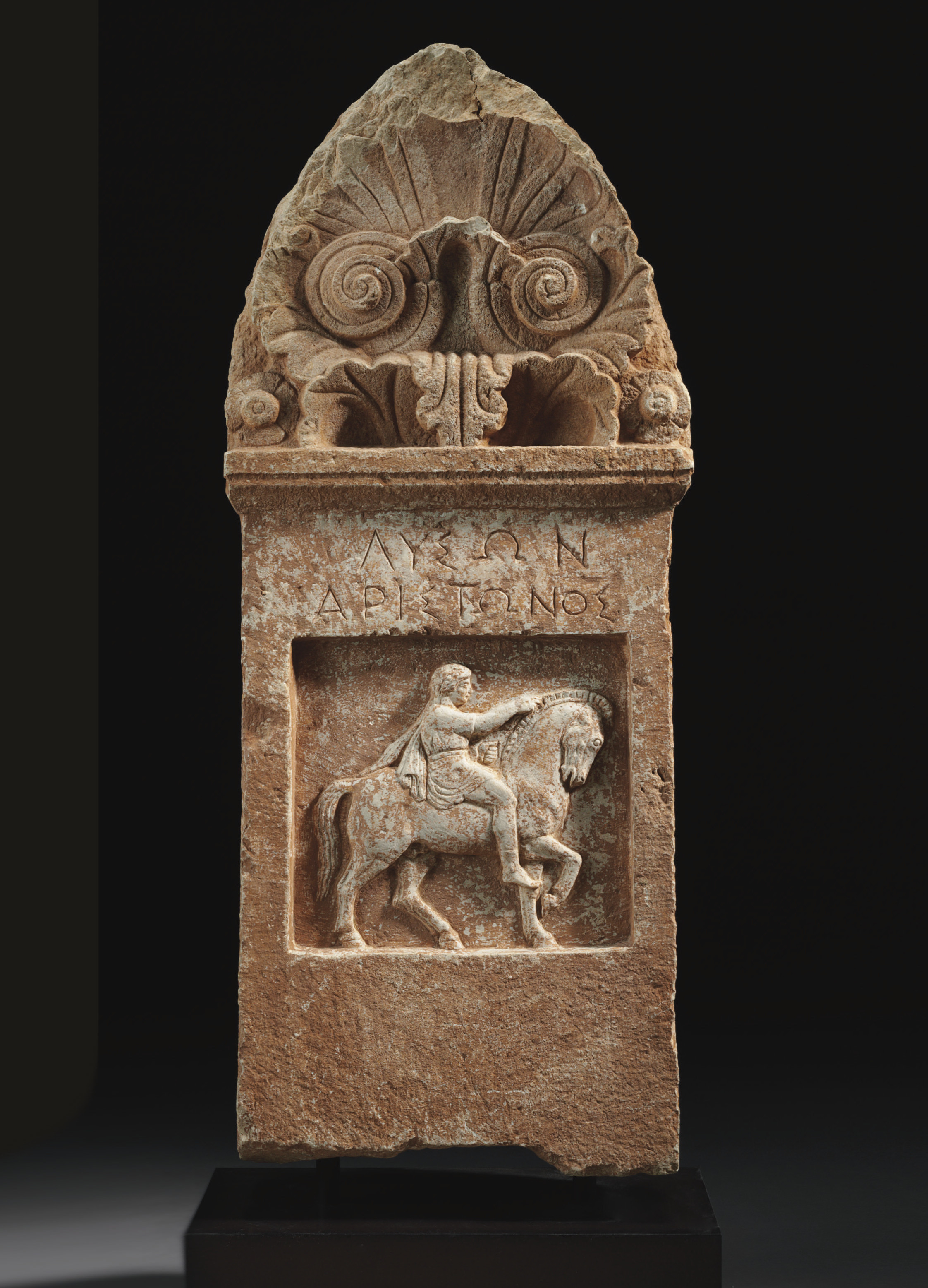 A GREEK MARBLE GRAVE STELE FOR