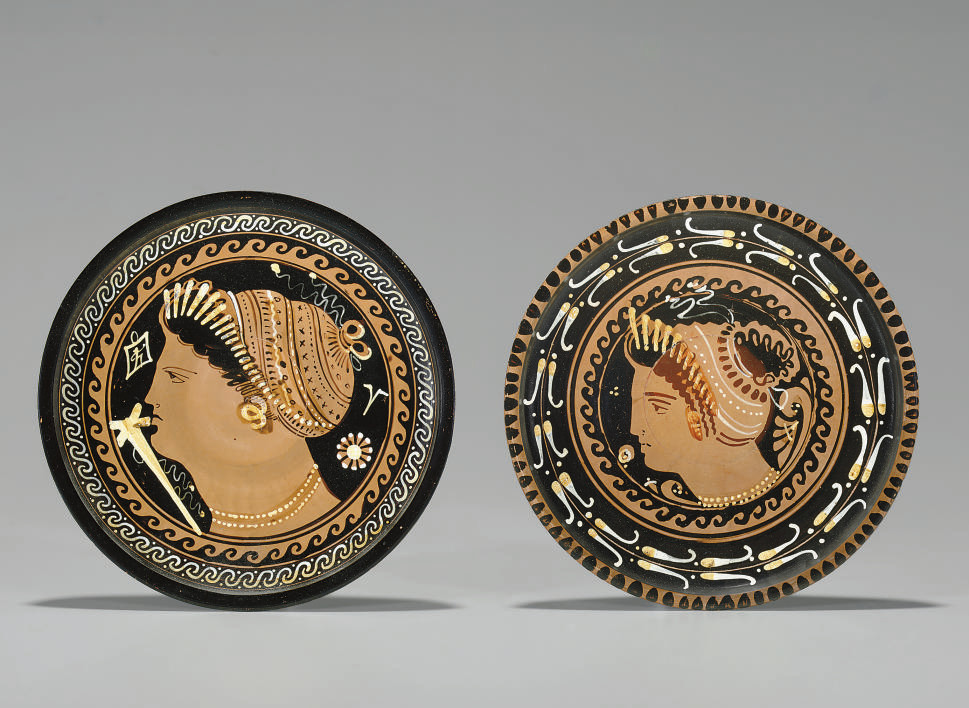TWO APULIAN RED-FIGURED PLATES