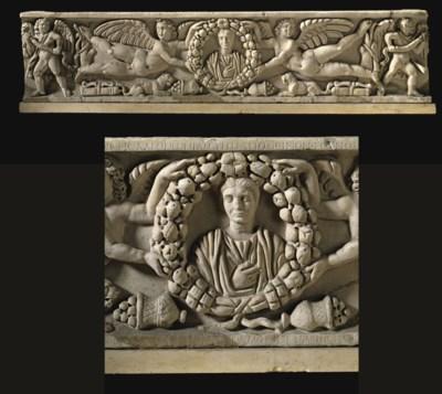 A ROMAN MARBLE SARCOPHAGUS FOR