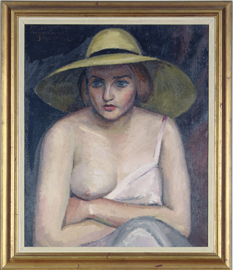 A seated woman with a yellow hat