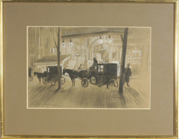 Carriages parked in front of the Elysée Montmartre Theatre, Paris