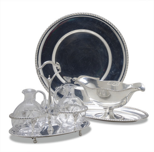 TWO SIMILAR ITALIAN SILVER PART DINNER SERVICES,