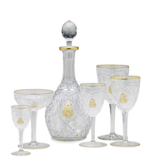 A FRENCH CUT GLASS MONOGRAMMED