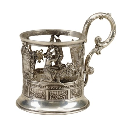 A RUSSIAN SILVER TEA GLASS HOL