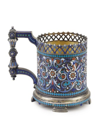 A RUSSIAN SILVER AND ENAMEL GL