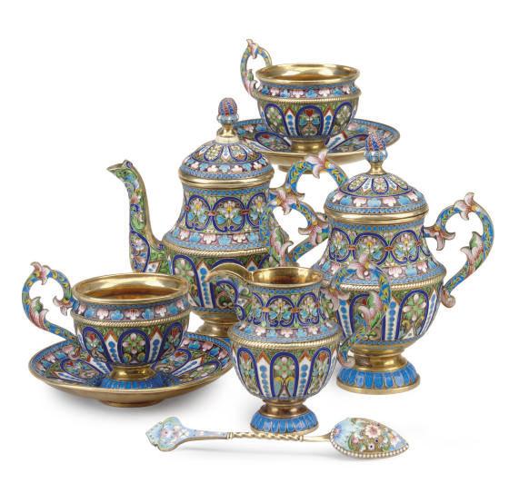 A RUSSIAN ENAMELED SILVER TEA