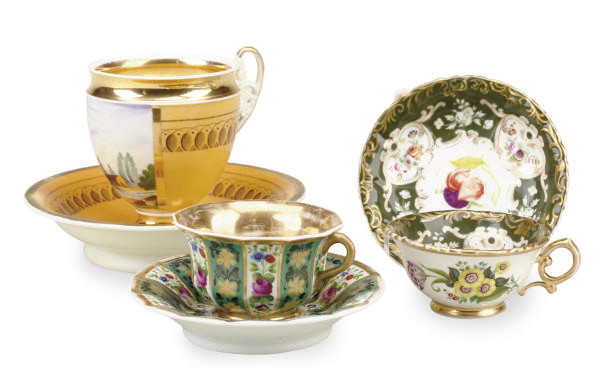 THREE RUSSIAN TEA CUPS AND SAU