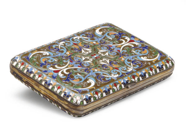A RUSSIAN SILVER AND ENAMEL CI