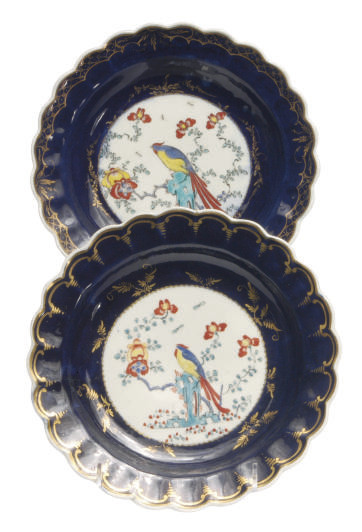 TWO ENGLISH GROS BLUE SCALLOPE