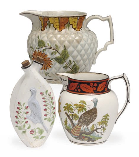 TWO STAFFORSHIRE PEARLWARE JUG