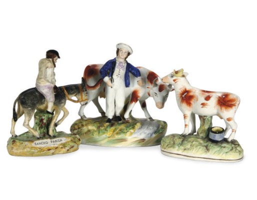 THREE STAFFORSHIRE PEARLWARE F