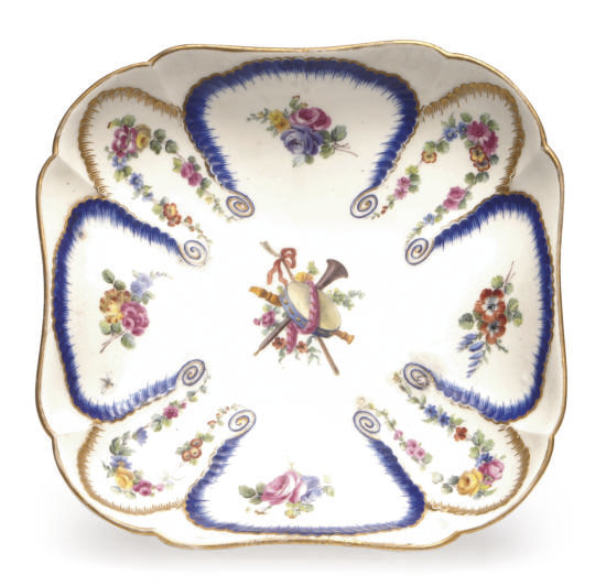 A FRENCH PORCELAIN SHAPED-SQUA