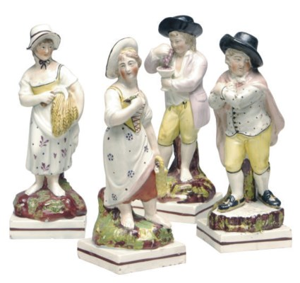 A SET OF FOUR STAFFORDSHIRE PE