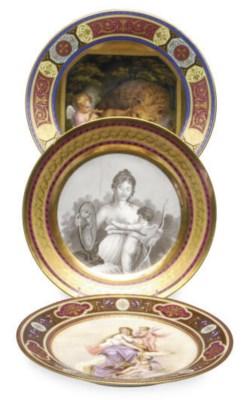 SIX VIENNA STYLE CABINET PLATE