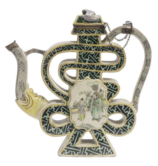 A SILVER-MOUNTED CHINESE GREEN
