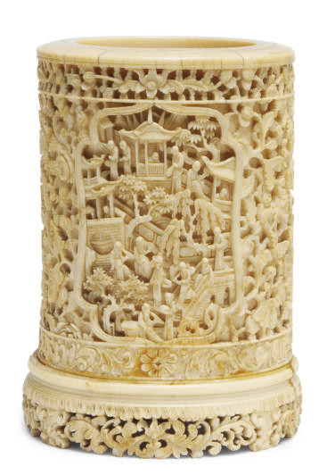 A CHINESE CARVED IVORY BRUSH P