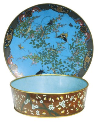 TWO LARGE CHINESE CLOISONNE EN