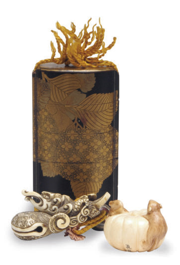 A JAPANESE LACQUER INRO WITH I