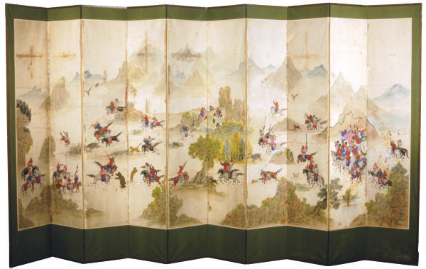 A KOREAN TEN PANEL SCREEN PAIN