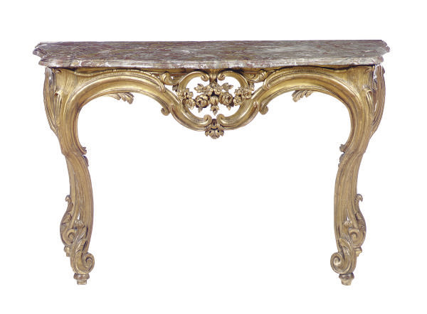 A LOUIS XV GILTWOOD AND MARBLE