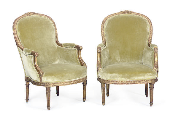A PAIR OF GILTWOOD AND UPHOLST