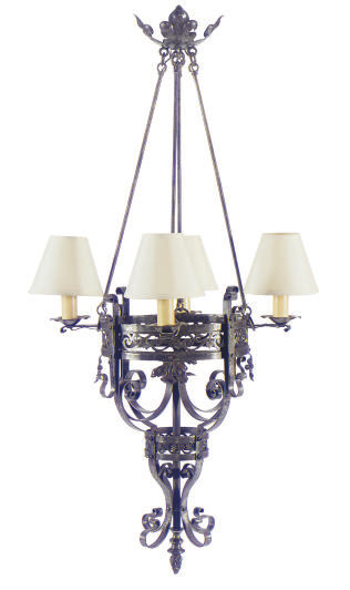 A WROUGHT IRON FOUR-LIGHT CHAN