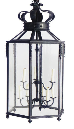 A WROUGHT-IRON AND GLASS HANGI