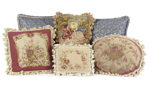 A PAIR OF FORTUNY PILLOWS TOGE