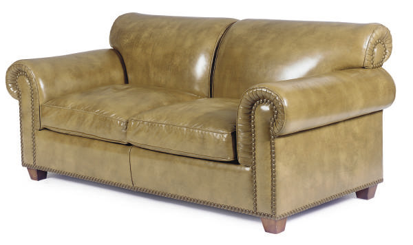 A BROWN LEATHER TWO-SEAT SOFA,