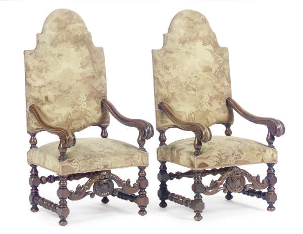 A PAIR OF FLEMISH WALNUT AND F