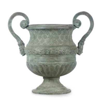 A VERDIGRIS BRONZE TWO-HANDLED