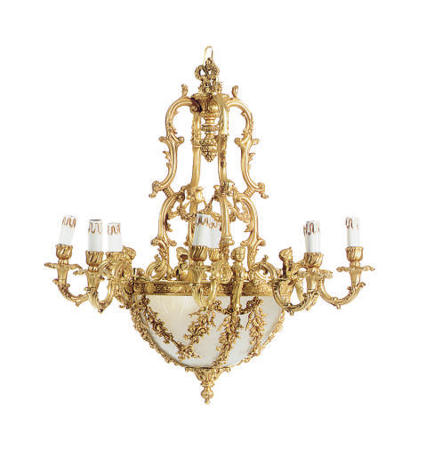 A GILT-BRONZE AND GLASS EIGHT-
