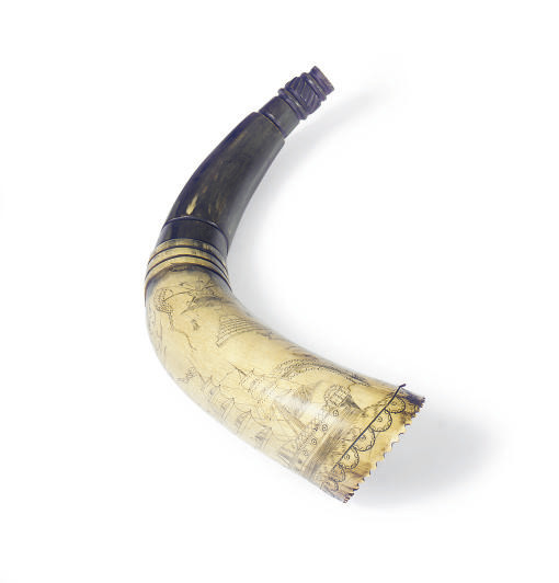 A SCRIMSHAW POWDER HORN,
