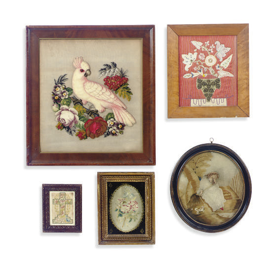 A GROUP OF NEEDLEWORK AND SILK