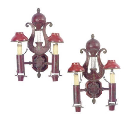 A MATCHED PAIR OF RED TOLE-PEI