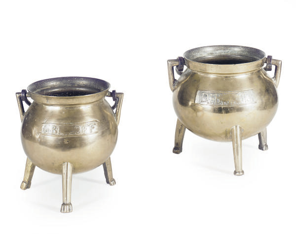 TWO SILVERED-IRON BUCKETS,
