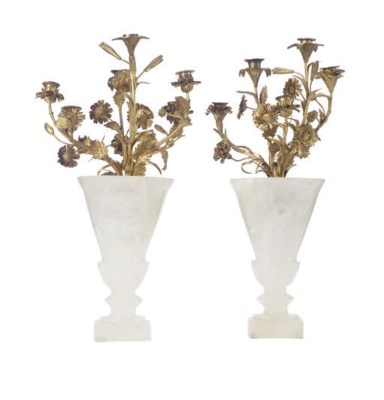 A PAIR OF ROCK CRYSTAL GILT-ME